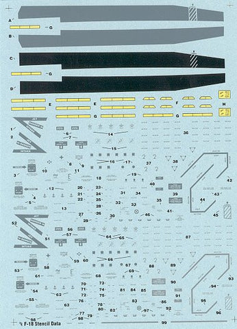 Hi-decal Line 1/48 for F/A-18 - stencils for 2 complete aircraft #48-006