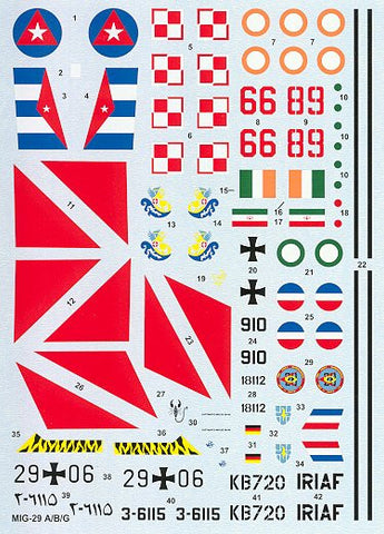 Hi-Decal Line 1/48 decals for MiG 29A/B/CG Fulcrum A #48-013