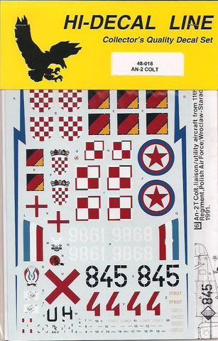 Hi-Decal Line 1/48 decal for AN-2 Colt Poland GDR Croatia and more 48-018