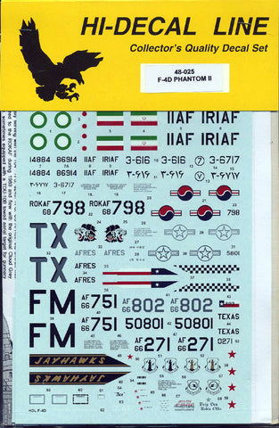 Hi-Decal Line 1/72 decal set F-4D Phantom II 72-055 AFRes ANG S. Korea Iran