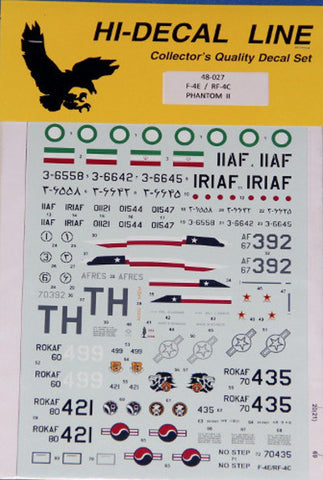 Hi-Decal Line 1/48 for F-4E / RF-4C Phantom II AFRes, Iran, South Korea 48-027