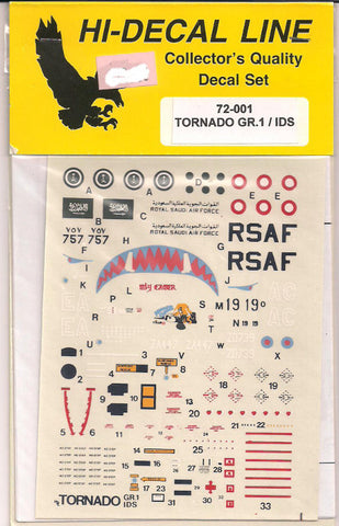 Hi-Decal Line 1/72 scale for Tornado GR.1/IDS #72-001
