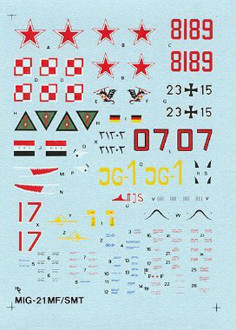 Hi-Decal Line 1/72 decals for MiG-21MF/SMT Fishbed J/K 72-011