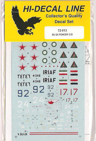 Hi-Decal Line 1/72 decal for SU-24 M/MK/MR Fencer C/D - #72-013