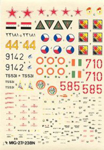 Hi-Decal Line 1/72 decals for MIG-27 / MIG-23BN Flogger #72-017