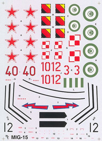 Hi-Decal Line 1/72 decal set for MiG-15 Bis Fagot B #72-022