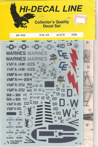 Hi-Decal Line 1/72 decal set for F-18 A/C/D (Cr) #72-023