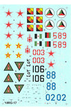 Hi-Decal Line 1/72 decals for MIG-17 Fresco A -72-030