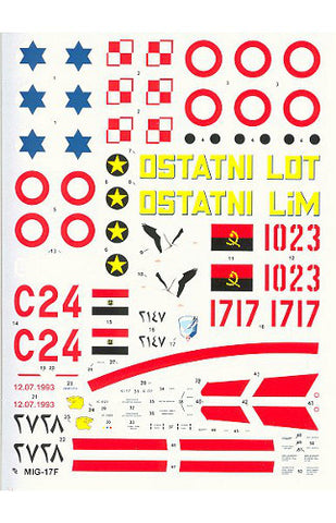 Hi-Decal Line 1/72 decal set for MIG-17 / LIM-5 Fresco C - 72-035