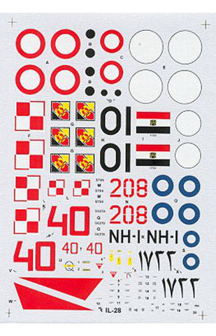 Hi-Decal Line 1/72 decals for IL-28 Beagle Finnish, Egyptian #72-039