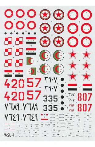 Hi-Decal Line 1/72 scale decal set for SU-7 Fitter A #72-042
