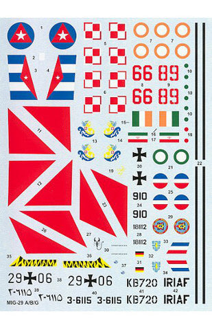 Hi-Decal Line 1/72 decals set for MiG 29A/B/CG Fulcrum A 72-044
