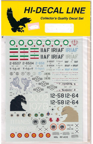 Hi-Decal Line 1/72 decals for RF-4C/E Phantom II US, Spain & Iran 72-053