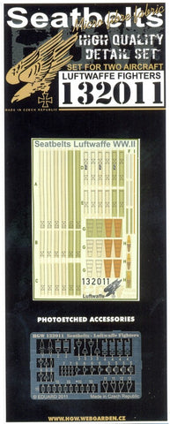 HGW 1/32 Seatbelts for WWII Luftwaffe Fighter set for 2 aircraft #132011