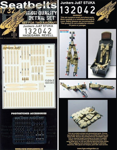 HGW 1/32 seatbelts for Junkers Ju 87 STUKA for Revell 132042