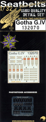 HGW 1/32 Seatbelts for Gotha G.IV for Wingnut Wings 132070