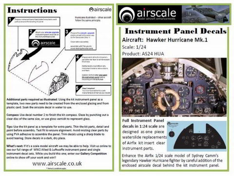 Airscale 1/24 Hawker Hurricane Instrument Panel decal AS24HUA
