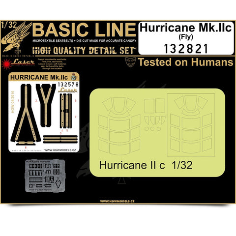 HGW Basic Line 1/32 seatbelt & mask Hurricane Mk. II for FLY- 132821