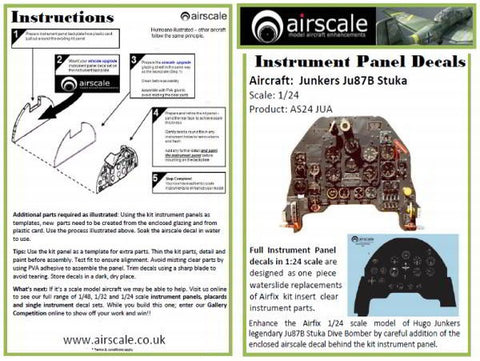 Airscale 1/24 scale Ju 87 Stuka Instrument Panel decal AS24JUA