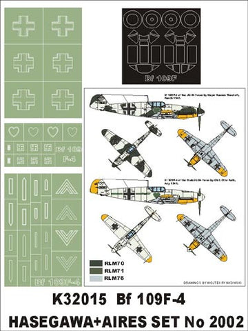 Montex 1/32 canopy masks & markings Bf 109F-4 Hasegawa & Aires