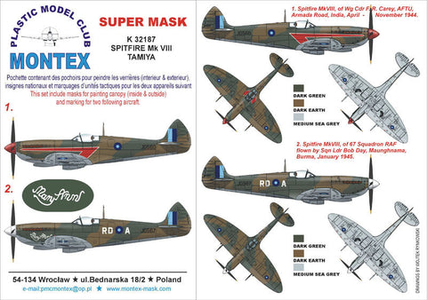 Montex 1/32 Spitfire Mk VIII for Tamiya decals, masks & markings K32187