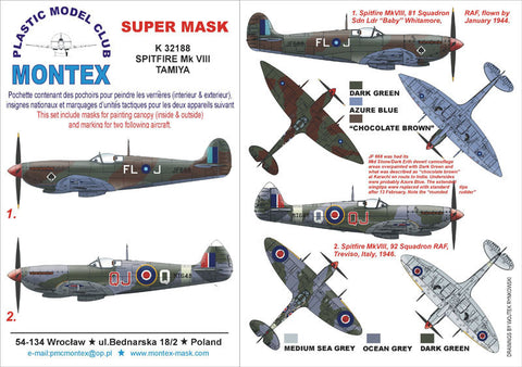 Montex 1/32 Spitfire Mk VIII for Tamiya masks & markings K32188