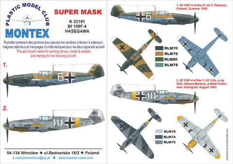 Montex 1/32 Bf 109F-4 for Hasegawa masks & markings K32191