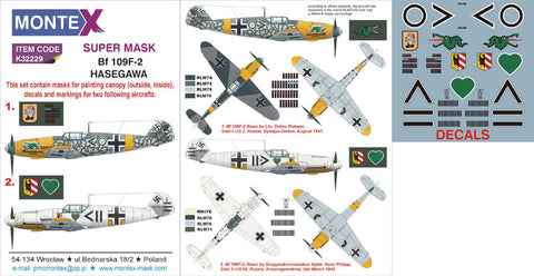 Montex 1/32 decals, masks & markings for Bf 109F-2 Hasegawa k32229