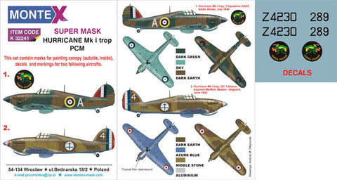 Montex 1/32 masks, decals & markings Hurricane Mk I trop PCM k32241