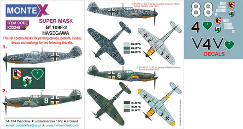 Montex 1/32 masks, decals & markings for Bf 109F-2 for Hasegawa
