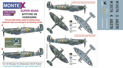 Montex 1/32 masks, markings & decals for SPITFIRE VB by HASEGAWA - K32337