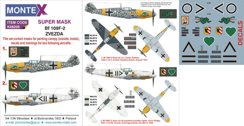 Montex 1/48 masks, markings & decals for Bf 109F-2 - Zvezda K48206