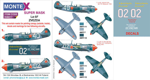 Montex 1/48 masks, decals & markings Zvezda La-5F - K48217