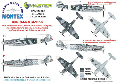 Montex 1/24 Masks, markings & barrels for Trumpeter BF 109G-6 - KAM24008