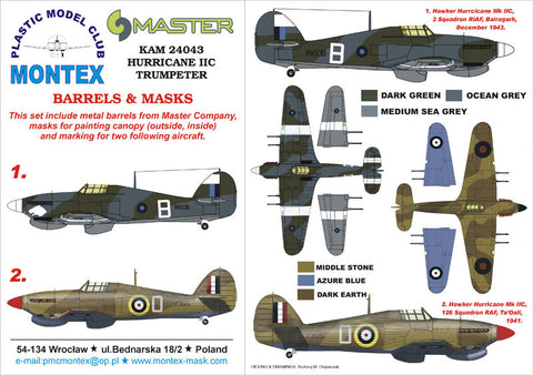 Montex 1/24 Masks, markings & barrels for Trumpeter Hurricane IIC - KAM24043