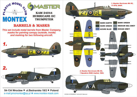 Montex 1/24 Masks, markings & barrels for Trumpeter Hurricane IIC - KAM24044