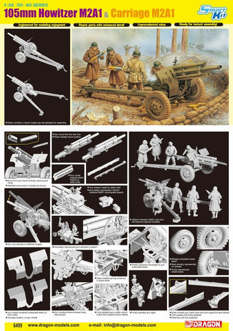 Dragon 1/35 Scale 105mm Howitzer M2A1 & Carriage M2A1 with Crew - Smart kit #6499