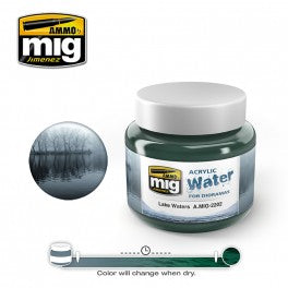 Ammo of Mig Jimenez water simulating Acrylic gel 8oz. LAKE WATERS #2202