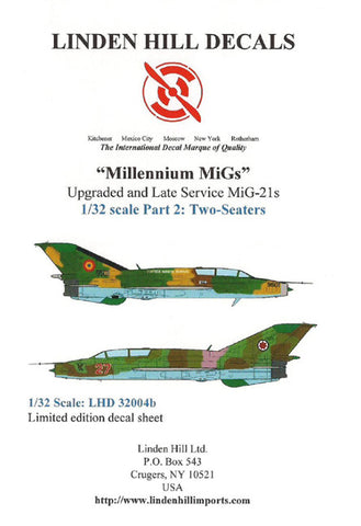 Millenium MiGs 1/32 Linden Hill decal for MiG-21s two seaters #32004b
