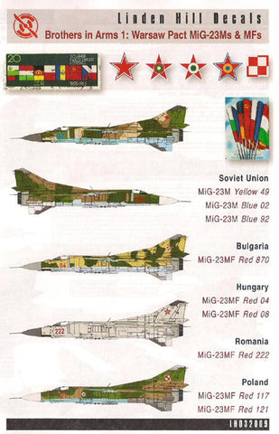 Linden Hill 1/32 decal LHD32009 Brothers in Arms 1 Warsaw Pact MiG-23Ms & MFs