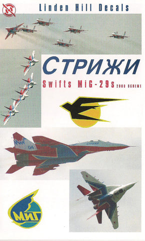 """The swifts"" Strizhi MiG-29s 2003 - Linden Hill 1/48 decal - LHD48008"