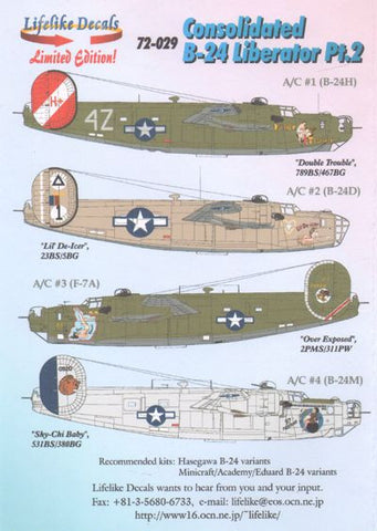 Lifelike 1/72 decal Consolidated B-24 Liberator Pt 2 -  72-029