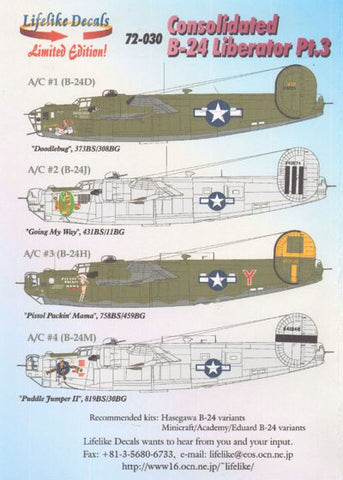 Lifelike 1/72 decal Consolidated B-24 Liberator Pt 3 - 72-030