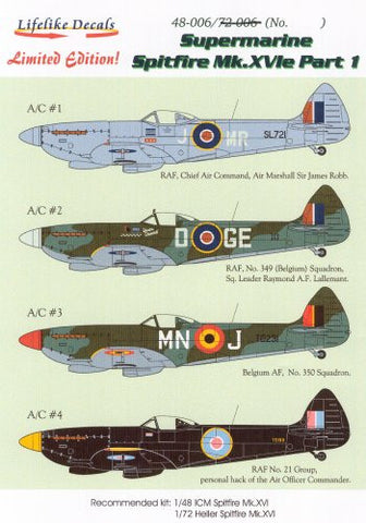 Lifelike 1/48 decal for Spitfire Mk.XVIe Part I for ICM - 48-006