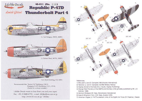 Lifelike 1/48 decals for Republic P-47D Thunderbolt Pt 4 Tamiya & Hasegawa