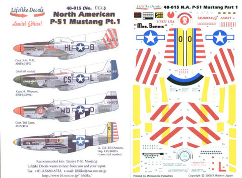 Lifelike 1/48 decal for North American P-51 Mustang Pt 1 for Tamiya - 48-015