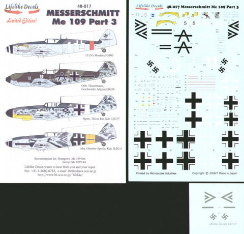 Lifelike 1/48 decal for Messerschmitt Me109 Pt 3 for Hasegawa & Tamiya 48-017