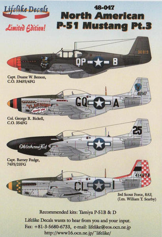 Lifelike 1/48 decal for North American P-51 Mustang Pt 3 for Tamiya - 48-047