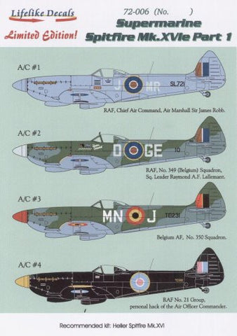 Lifelike 1/72 decal for Spitfire Mk.XVIe Part I for Heller - 72-006