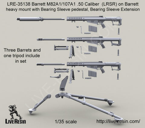 Live Resin 1/35 Barrett M82A1/107A1 .50 Caliber LRSR on M3 tripod- LRE35138